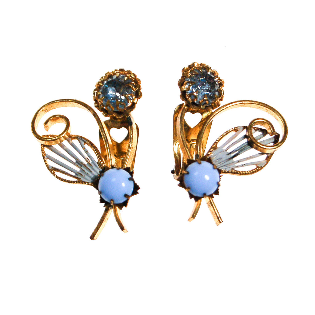 Blue Rhinestone and Moosnstone Flower Earrings, Earrings - Vintage Meet Modern