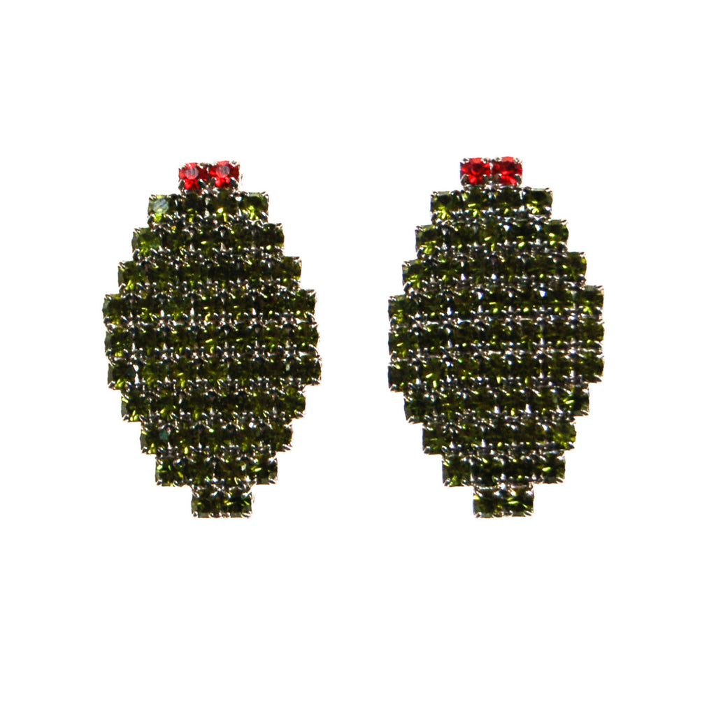 Bauer Olive Rhinestone Earrings - Vintage Meet Modern  - 1