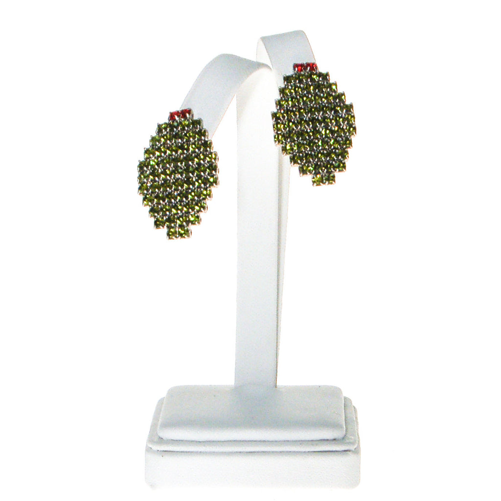 Bauer Olive Rhinestone Earrings - Vintage Meet Modern  - 2