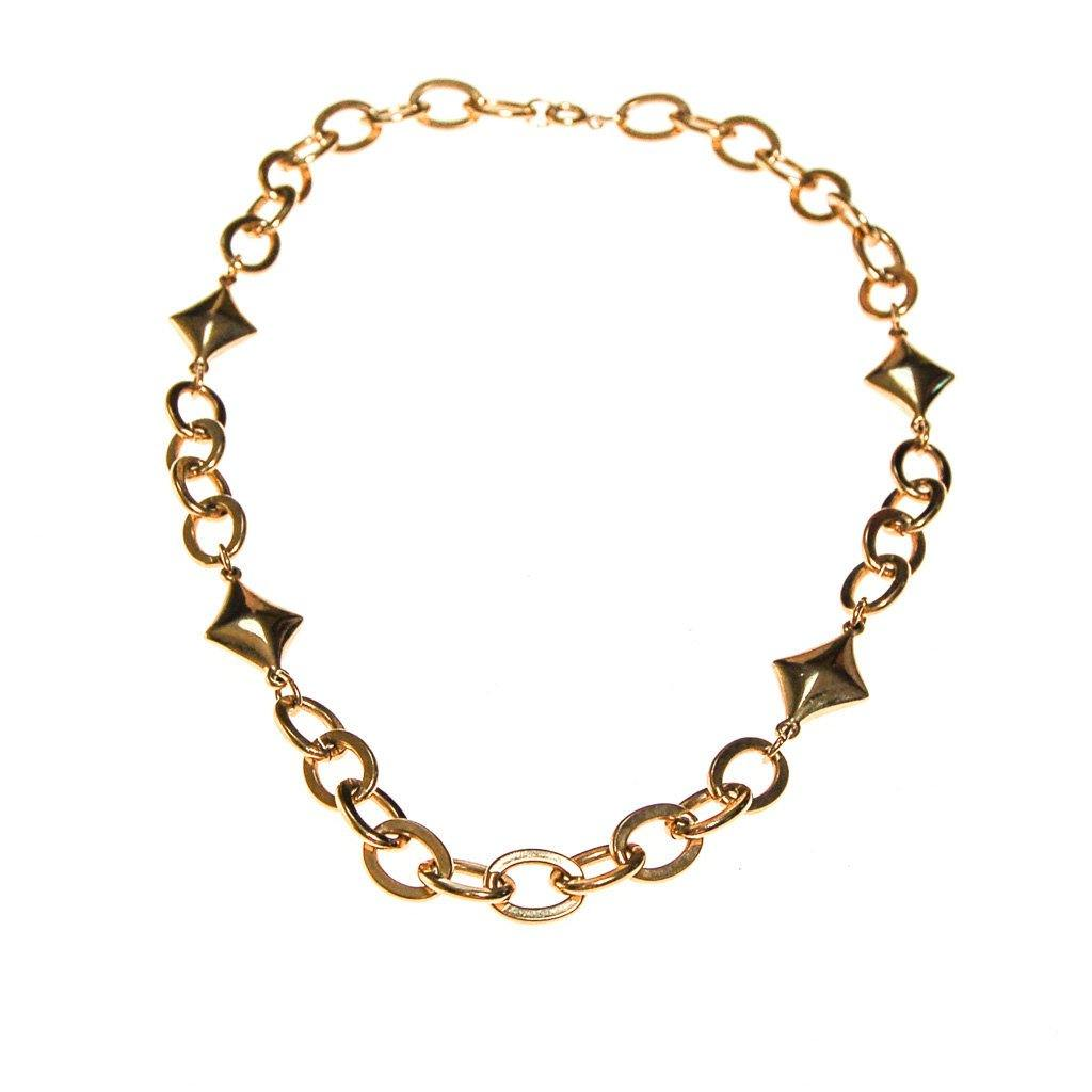 Gold Chain and Diamond Link Necklace - Vintage Meet Modern  - 4