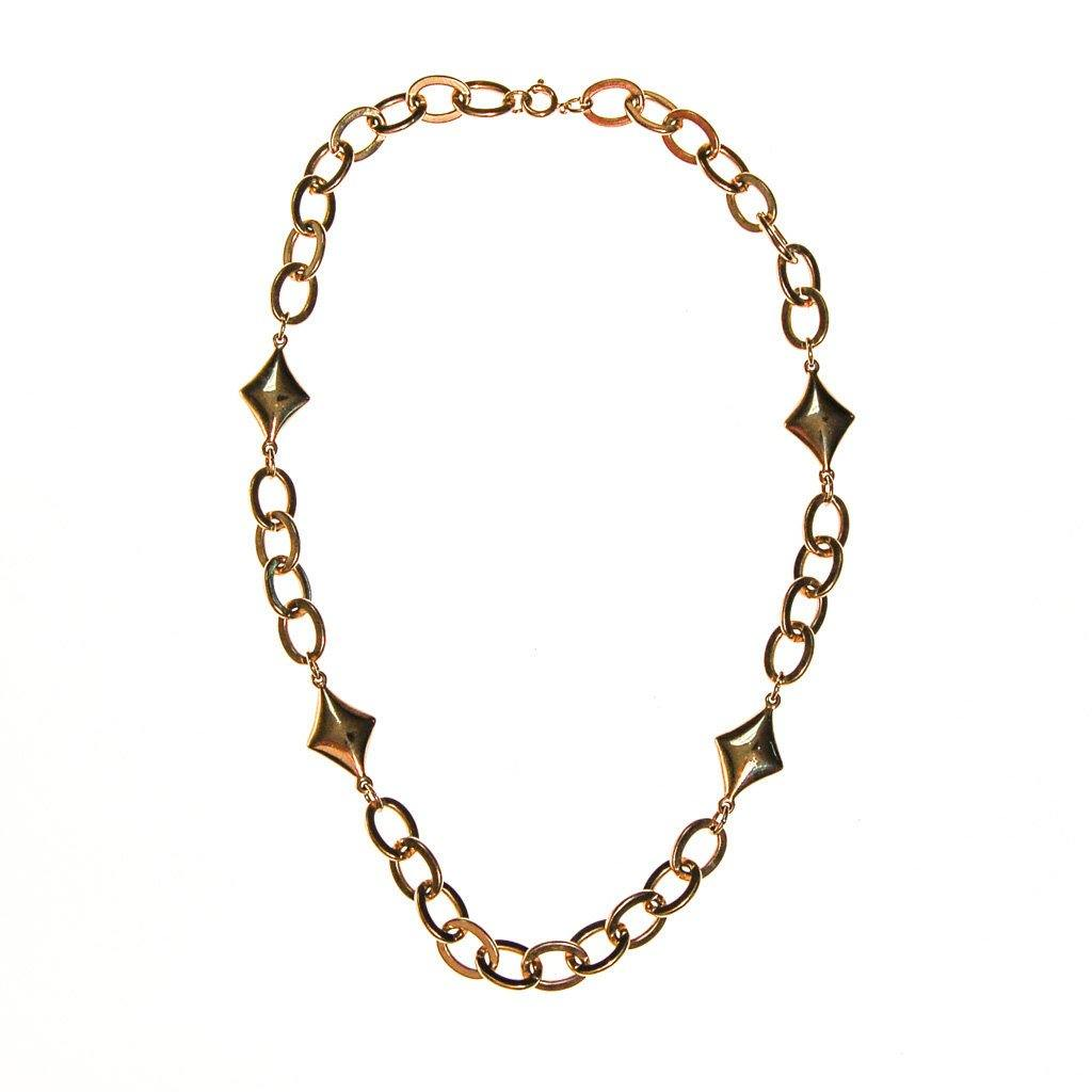 Gold Chain and Diamond Link Necklace - Vintage Meet Modern  - 2