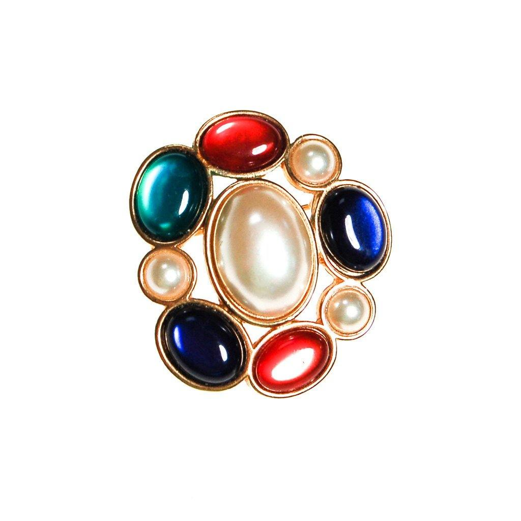 Royal Color and Pearl Cabochon Brooch by Avon - Vintage Meet Modern  - 1