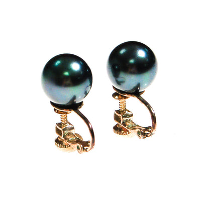 Faux Tahitian Black Pearl Earrings by Unsigned Beauty - Vintage Meet Modern Vintage Jewelry - Chicago, Illinois - #oldhollywoodglamour #vintagemeetmodern #designervintage #jewelrybox #antiquejewelry #vintagejewelry