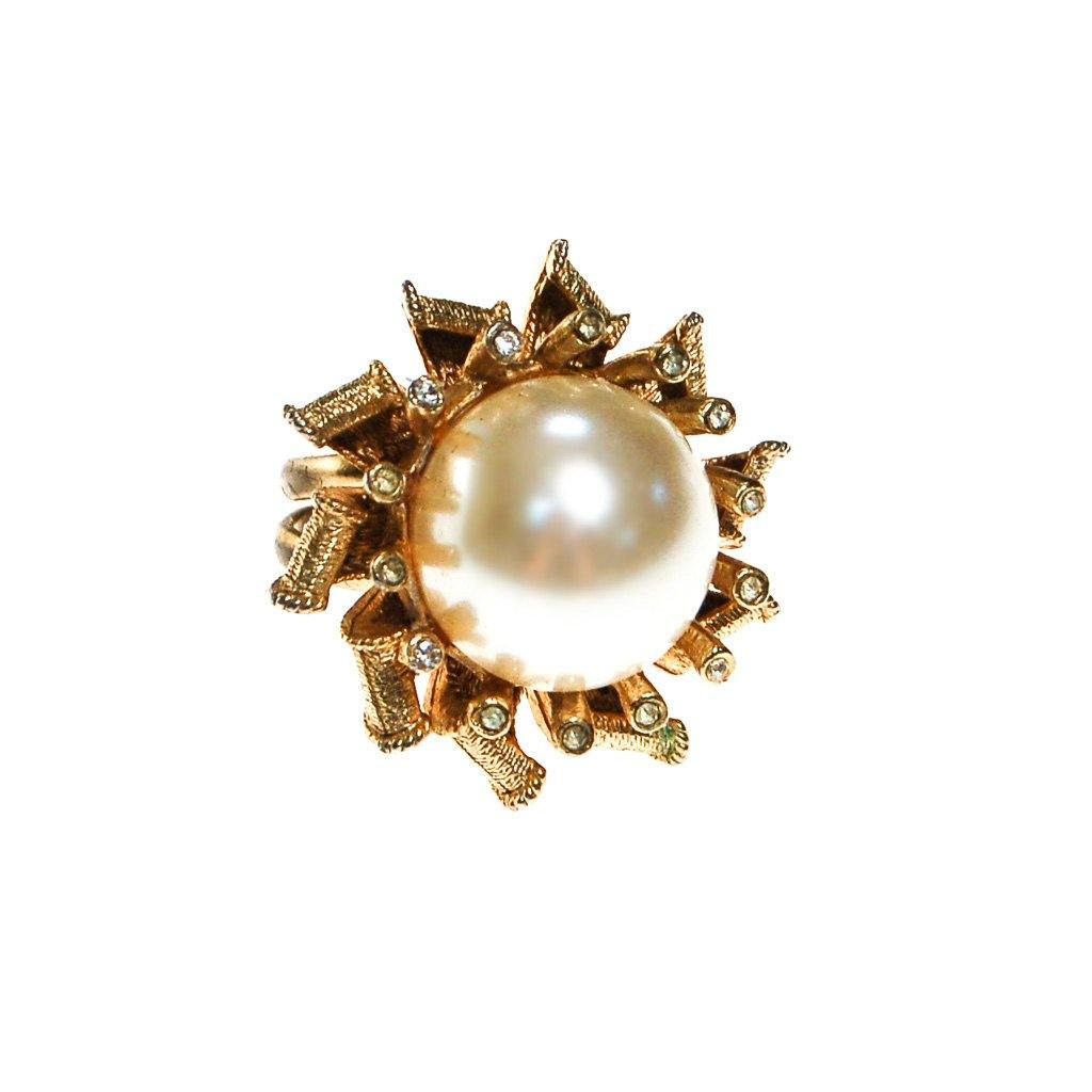 Pearl and Rhinestone Atomic Starburst Statement Ring - Vintage Meet Modern  - 1