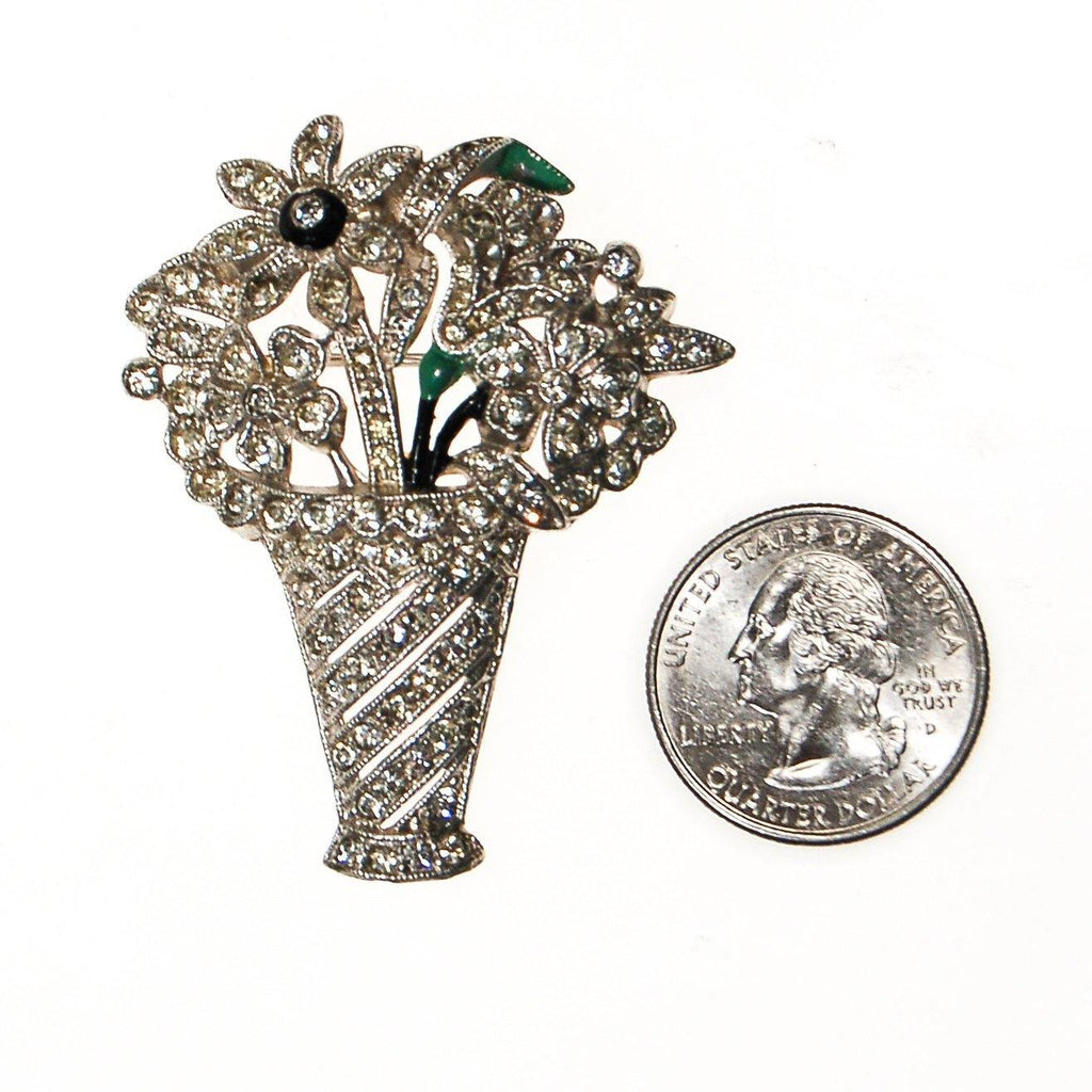 Art Deco Rhinestone Basket of Flowers Brooch - Vintage Meet Modern  - 2