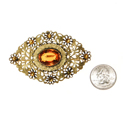 Filigree and Gold Citrine Crystal Victorian Sash Pin by Victorian - Vintage Meet Modern Vintage Jewelry - Chicago, Illinois - #oldhollywoodglamour #vintagemeetmodern #designervintage #jewelrybox #antiquejewelry #vintagejewelry