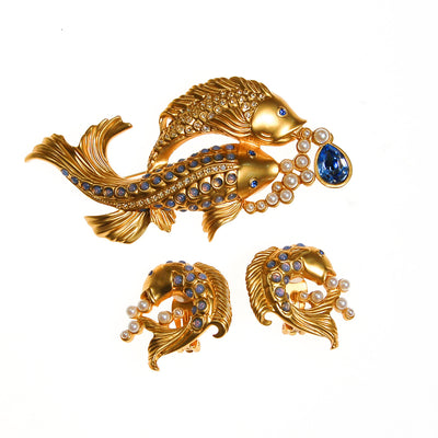 Elizabeth Taylor Sea Shimmer Jumping Koi Fish Earrings by Elizabeth Taylor for Avon - Vintage Meet Modern - Chicago, Illinois