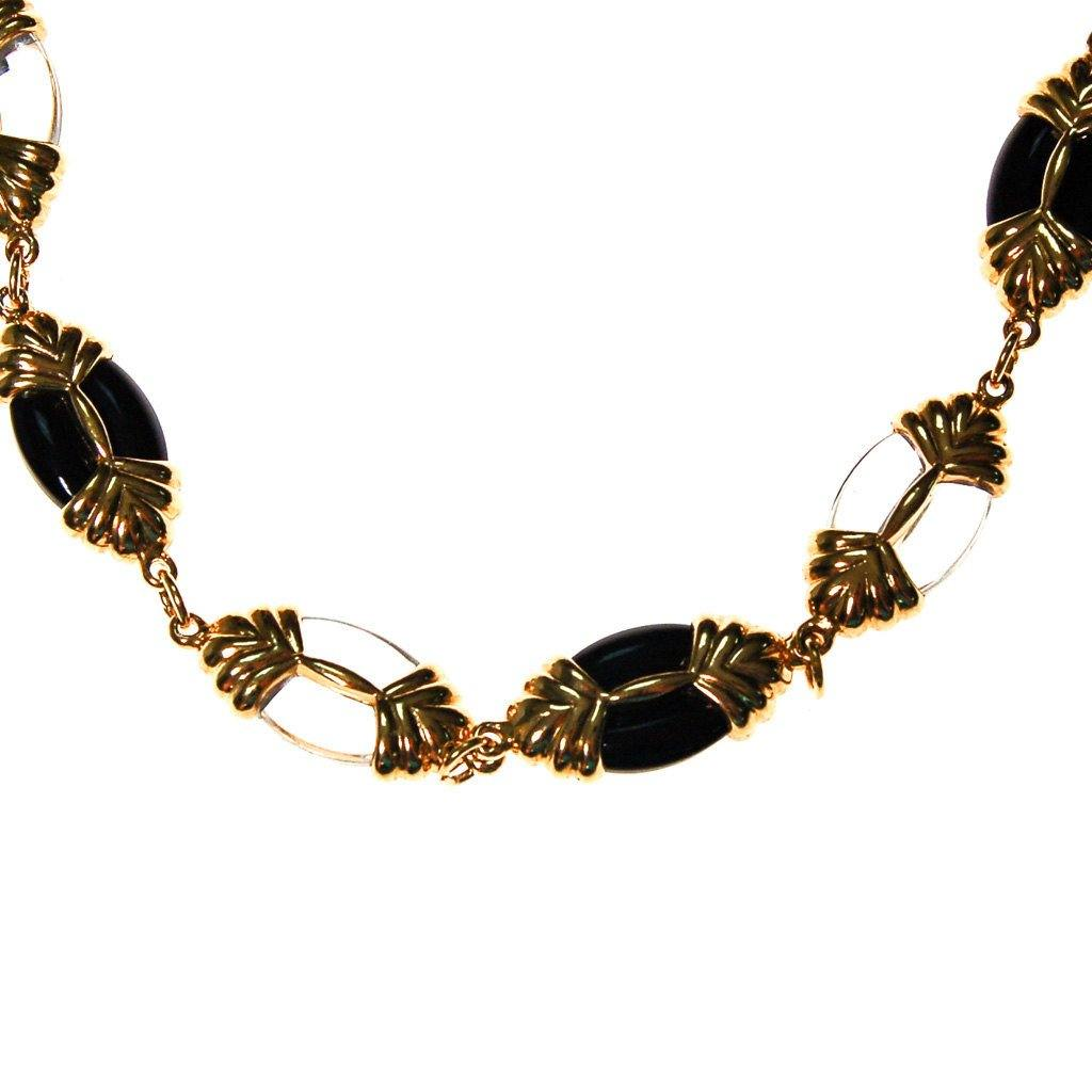 Swarovski Black, Gold, Clear, Crystal Necklace - Vintage Meet Modern  - 3