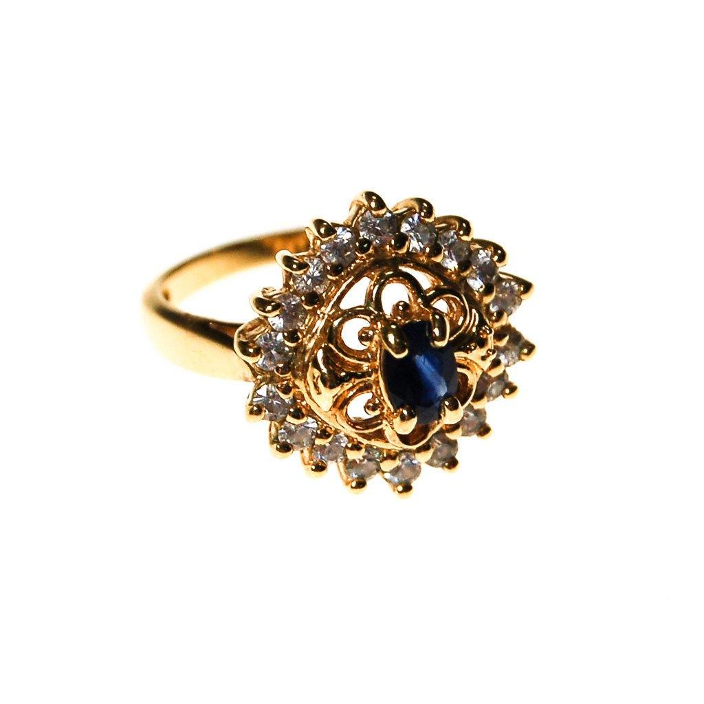 Sapphire and Cubic Zirconia Statement Ring - Vintage Meet Modern  - 3