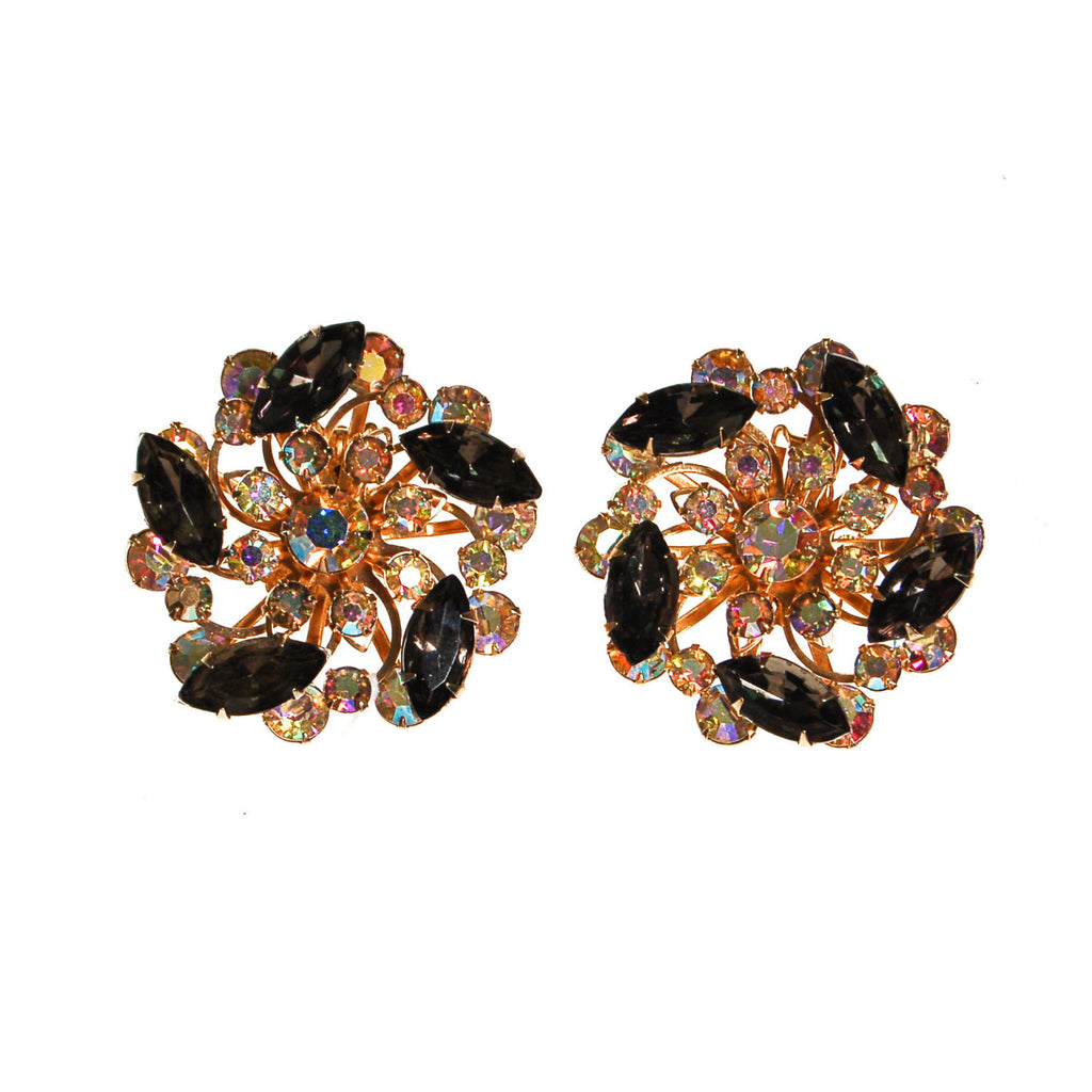Black Diamond and Aurora Borealis Rhinestone Statement Earrings - Vintage Meet Modern  - 1