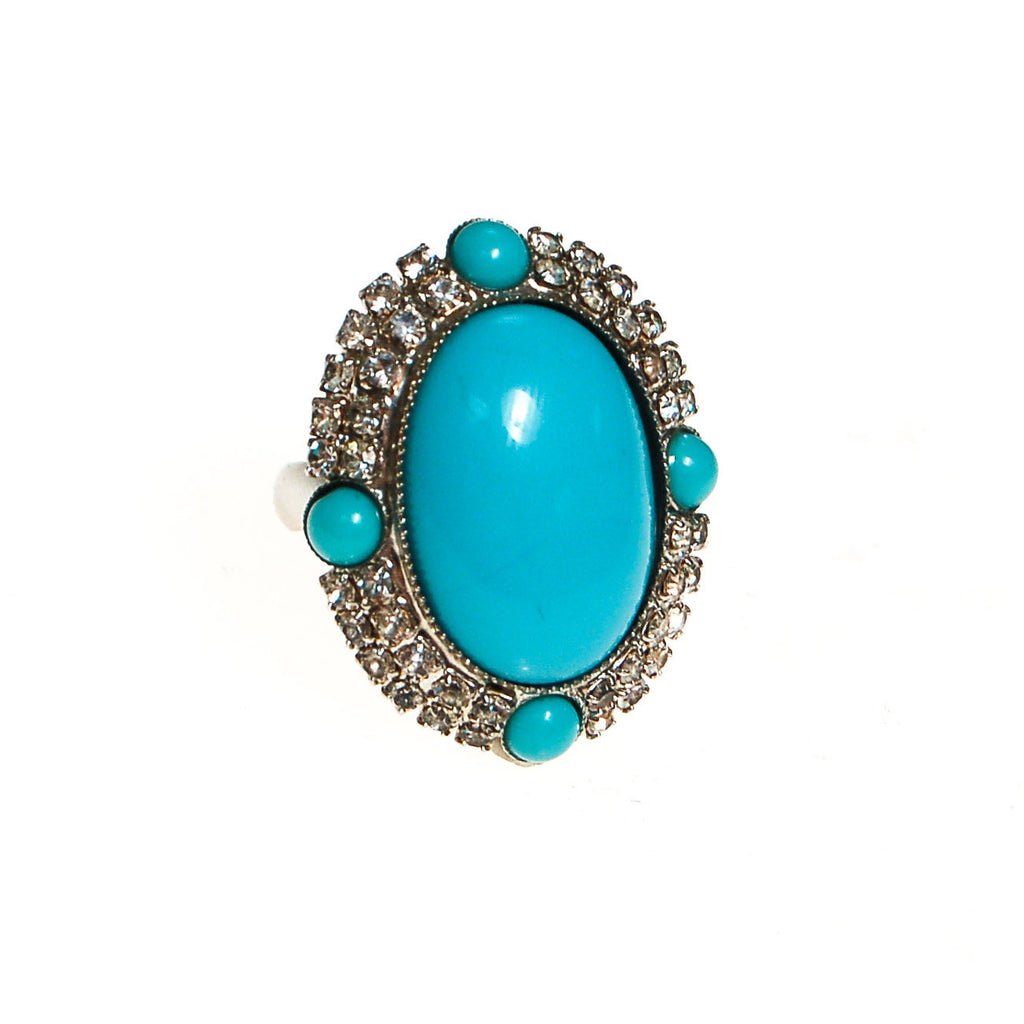 Vintage Turquoise Glass and Rhinestone Statement Ring - Vintage Meet Modern  - 1