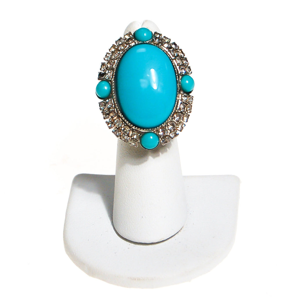 Vintage Turquoise Glass and Rhinestone Statement Ring - Vintage Meet Modern  - 2