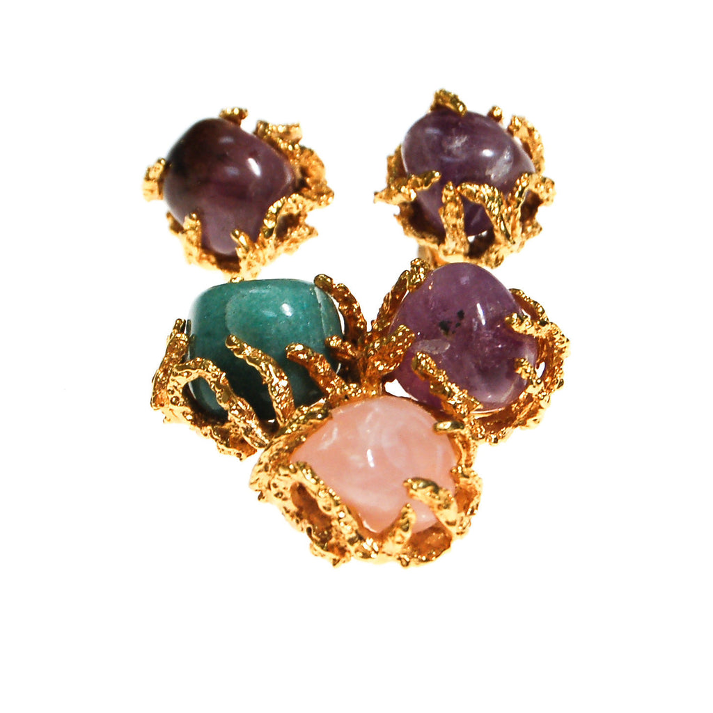 Vogue Jewelry Green,Purple Jade and Rose Quartz Brooch and Earrings Set - Vintage Meet Modern  - 2
