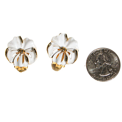 White Pansy Earrings by Patent Pending - Vintage Meet Modern - Chicago, Illinois