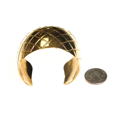Gold Quilted Cuff Bracelet by Unsigned Beauty - Vintage Meet Modern - Chicago, Illinois