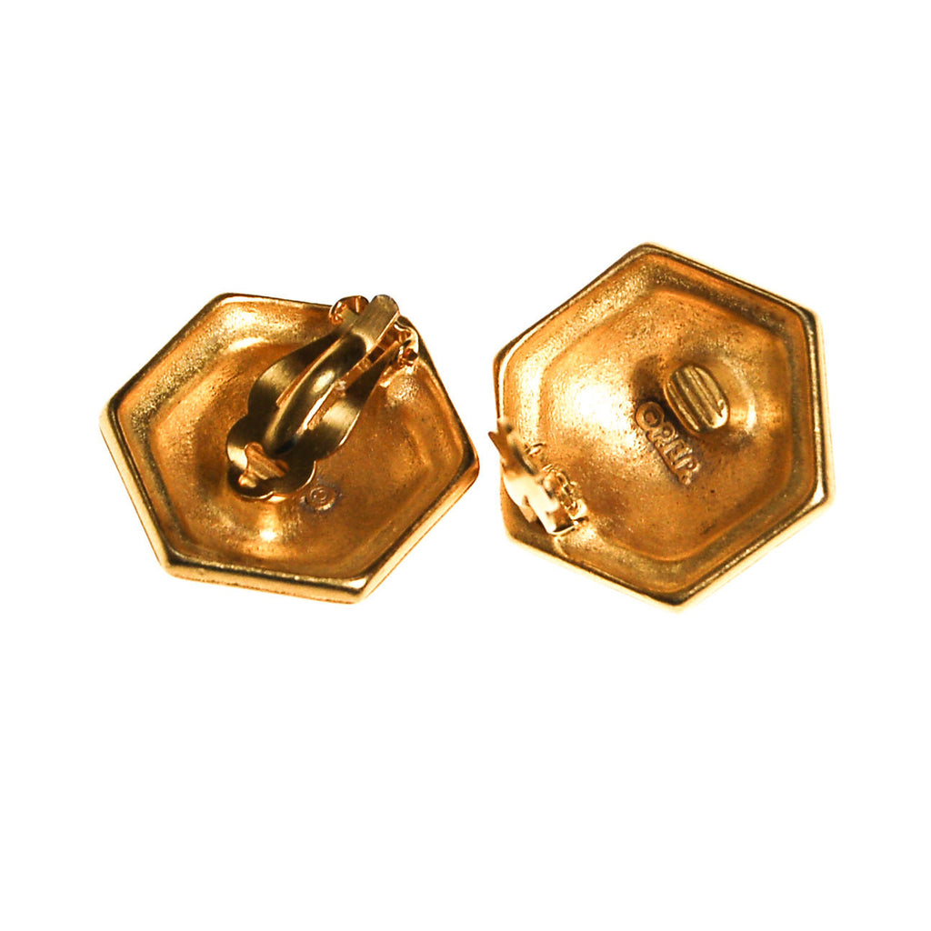Erwin Pearl White and Gold Earrings, Hexagon, Clip On, 1980s, Designer Vintage Jewelry - Vintage Meet Modern  - 3