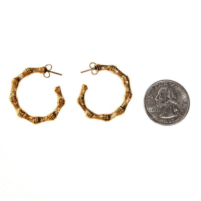 Gold Bamboo Hoop Earrings by Unsigned Beauty - Vintage Meet Modern Vintage Jewelry - Chicago, Illinois - #oldhollywoodglamour #vintagemeetmodern #designervintage #jewelrybox #antiquejewelry #vintagejewelry