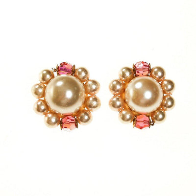 Les Bernard Pearl and Pink Crystal Statement Earrings by Les Bernard - Vintage Meet Modern - Chicago, Illinois