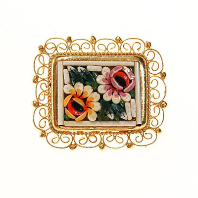 Petite Micro Mosaic Floral Brooch by Italian Mosaic - Vintage Meet Modern Vintage Jewelry - Chicago, Illinois - #oldhollywoodglamour #vintagemeetmodern #designervintage #jewelrybox #antiquejewelry #vintagejewelry
