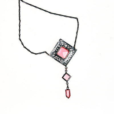 Art Deco Filigree and Pink Crystal Necklace by Art Deco - Vintage Meet Modern - Chicago, Illinois
