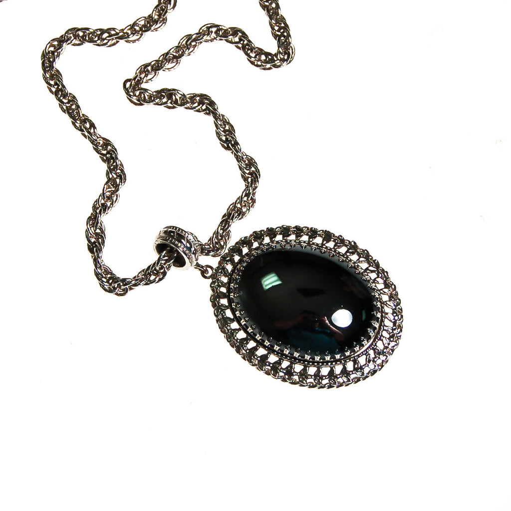 Whiting and Davis Hematite Pendant Necklace - Vintage Meet Modern  - 1