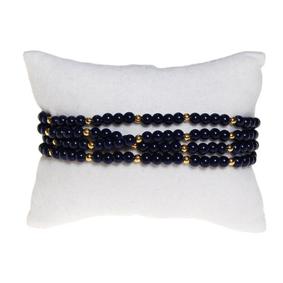 Triple Strand Blue and Gold Bead Bracelet by Unsigned Beauty - Vintage Meet Modern Vintage Jewelry - Chicago, Illinois - #oldhollywoodglamour #vintagemeetmodern #designervintage #jewelrybox #antiquejewelry #vintagejewelry