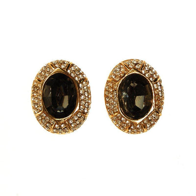 Ciner Smoked Crystal and Diamante Rhinestone Earrings by Ciner - Vintage Meet Modern - Chicago, Illinois