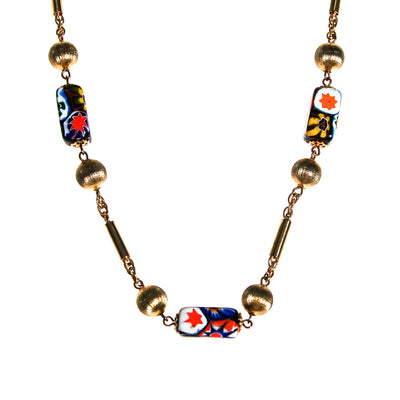Millefiori Coloful Art Glass Bead Necklace by Unsigned Beauty - Vintage Meet Modern Vintage Jewelry - Chicago, Illinois - #oldhollywoodglamour #vintagemeetmodern #designervintage #jewelrybox #antiquejewelry #vintagejewelry
