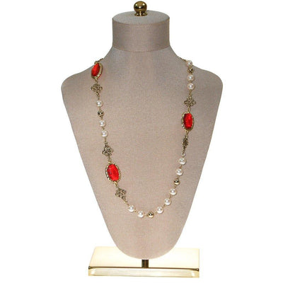 Pearl and Red Bezel Set Crystal Necklace by Unsigned Beauty - Vintage Meet Modern Vintage Jewelry - Chicago, Illinois - #oldhollywoodglamour #vintagemeetmodern #designervintage #jewelrybox #antiquejewelry #vintagejewelry