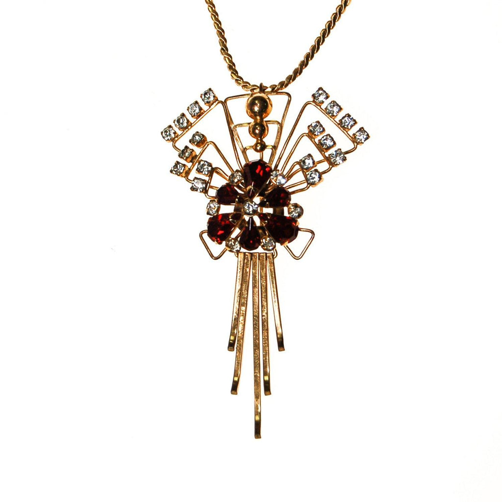 1940s M & S Gold Filled Red Garnet Crystal and Rhinestone Pendant Brooch Combination Necklace - Vintage Meet Modern  - 1