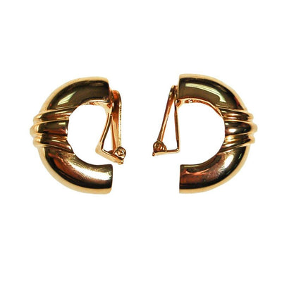 Gold Ribbed Hoop Earrings, Clip On, Designer Jewelry, Classic Style, 1980s by 1980s - Vintage Meet Modern - Chicago, Illinois