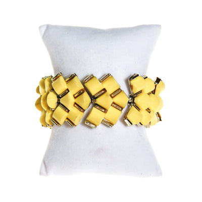 Sunshine Yellow Thermoset Wave Bracelet by Unsigned Beauty - Vintage Meet Modern Vintage Jewelry - Chicago, Illinois - #oldhollywoodglamour #vintagemeetmodern #designervintage #jewelrybox #antiquejewelry #vintagejewelry