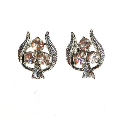 Silver Tone Rhinestone Earrings, Trio, Trinity, Floral, Screw Back, Designer Vintage Jewelry, 1960s by 1950s - Vintage Meet Modern Vintage Jewelry - Chicago, Illinois - #oldhollywoodglamour #vintagemeetmodern #designervintage #jewelrybox #antiquejewelry #vintagejewelry