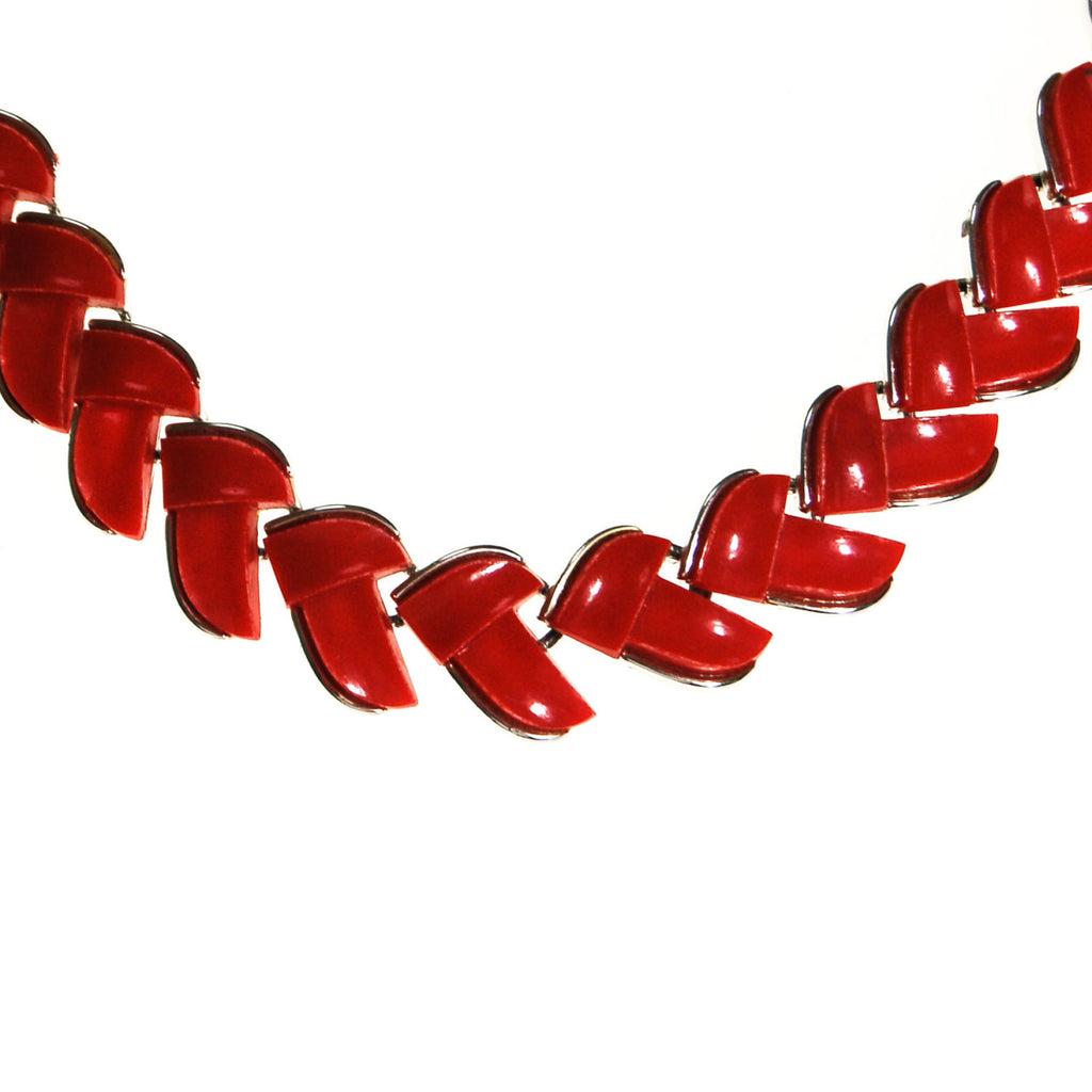 Retro Red Thermoset Necklace by Lisner - Vintage Meet Modern  - 3
