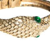 Gold Snake Bracelet with Emerald Green Eyes - Vintage Meet Modern  - 4