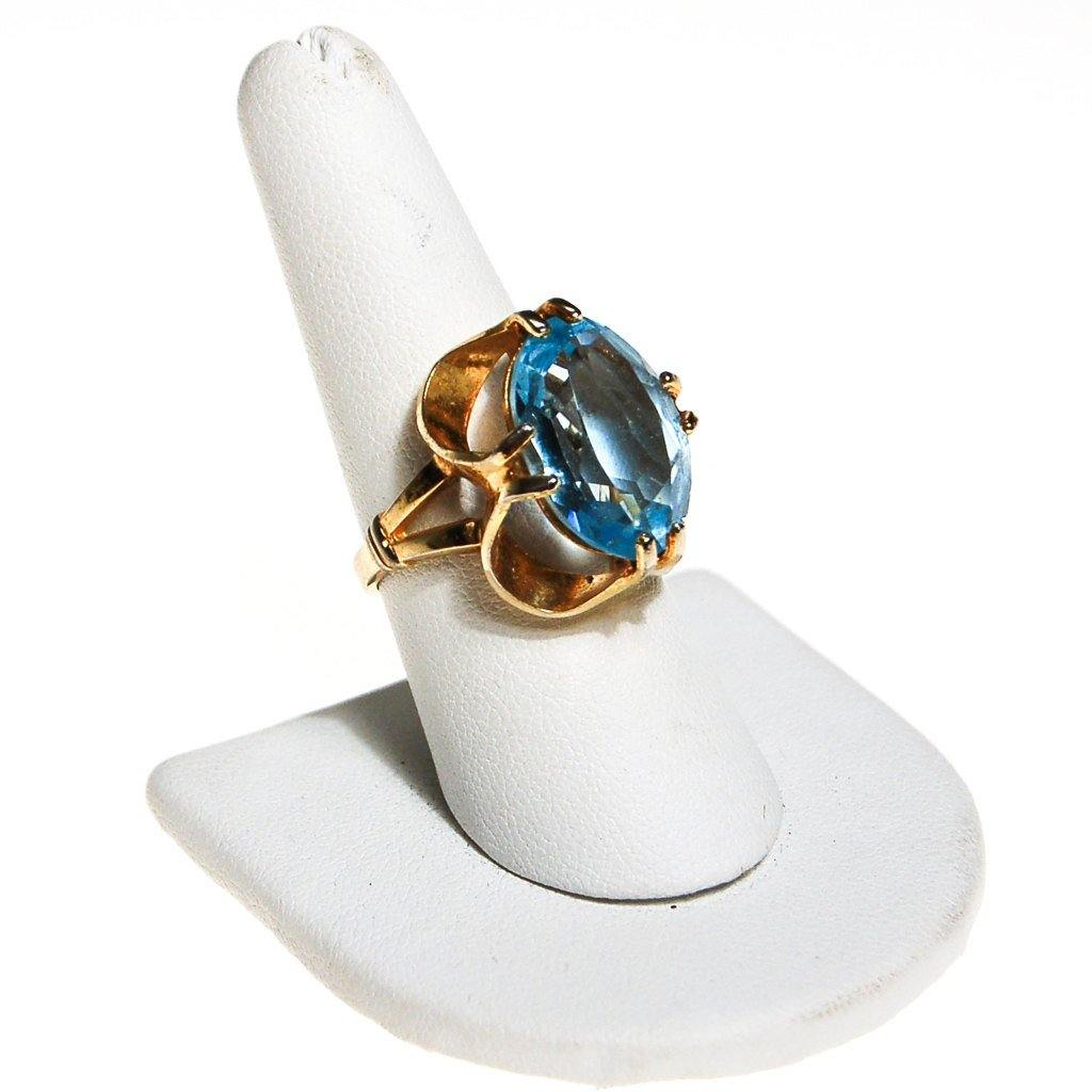 Caged Blue Crystal Statement Ring by Esposito - Vintage Meet Modern  - 1