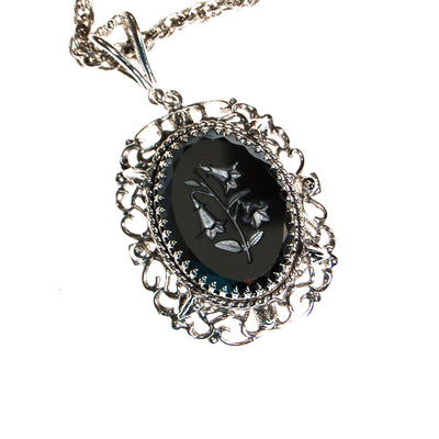Whiting and Davis Hematite Carved Flower Statement Necklace by Whiting and Davis - Vintage Meet Modern - Chicago, Illinois