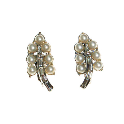 Coro Pearl and Rhinestone Earrings set in Silver Tone by Coro - Vintage Meet Modern Vintage Jewelry - Chicago, Illinois - #oldhollywoodglamour #vintagemeetmodern #designervintage #jewelrybox #antiquejewelry #vintagejewelry