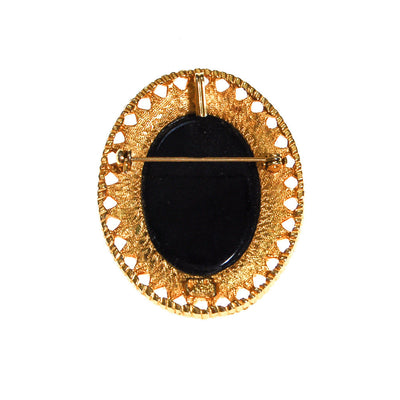 Black Glass Mirror Cameo Style Brooch Pendant by Celebrity NY by Celebrity NY - Vintage Meet Modern - Chicago, Illinois