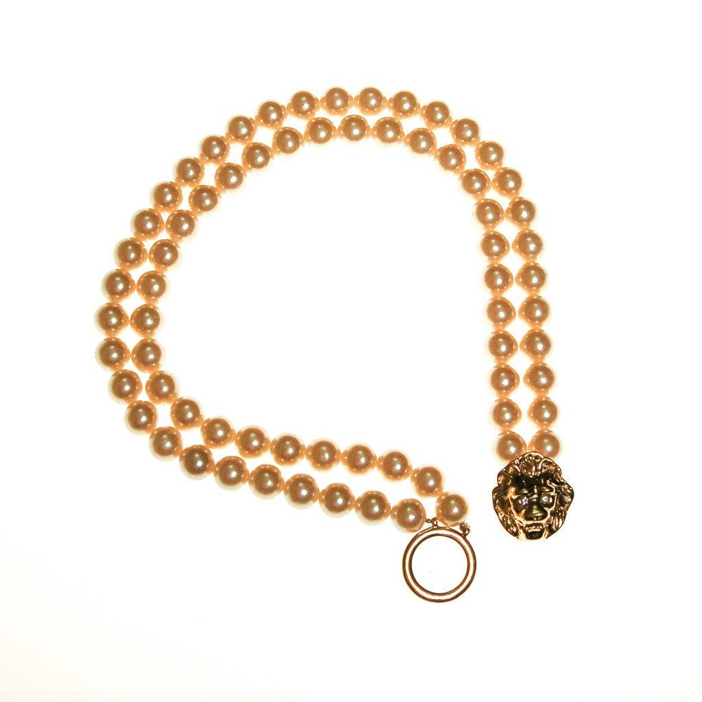 KJL for Avon Lions Head and Pearl Necklace - Vintage Meet Modern  - 2