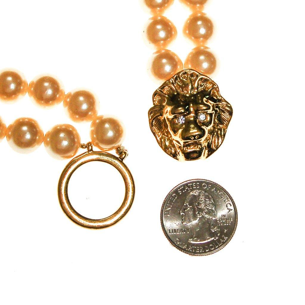 KJL for Avon Lions Head and Pearl Necklace - Vintage Meet Modern  - 4