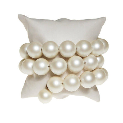 White Pearl Triple Coiled Bracelet by Pearl - Vintage Meet Modern - Chicago, Illinois