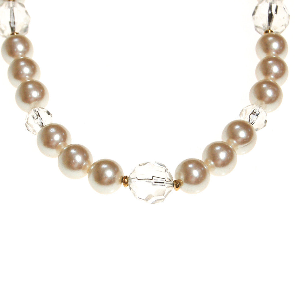 Marvella Pearl and Crystal Necklace - Vintage Meet Modern  - 2