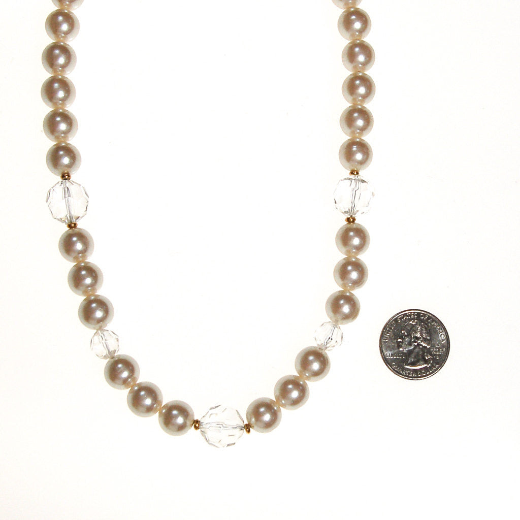 Marvella Pearl and Crystal Necklace - Vintage Meet Modern  - 3