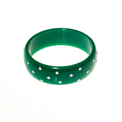 Green and White Polka Dot Bangle Bracelet by 1980s - Vintage Meet Modern Vintage Jewelry - Chicago, Illinois - #oldhollywoodglamour #vintagemeetmodern #designervintage #jewelrybox #antiquejewelry #vintagejewelry