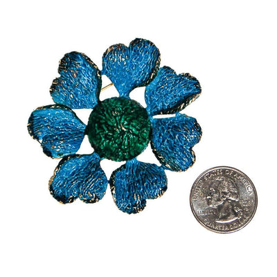 Blue and Green Flower Brooch, Brooch - Vintage Meet Modern