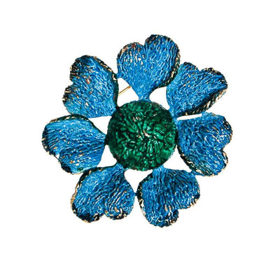 Blue and Green Flower Brooch by Unsigned Beauty - Vintage Meet Modern Vintage Jewelry - Chicago, Illinois - #oldhollywoodglamour #vintagemeetmodern #designervintage #jewelrybox #antiquejewelry #vintagejewelry