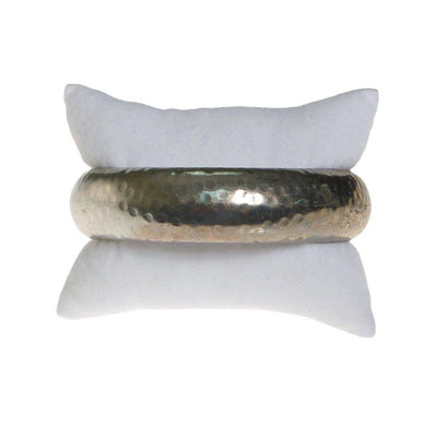 Wide Silver Tone Hammered Bangle Bracelet by 1970s - Vintage Meet Modern Vintage Jewelry - Chicago, Illinois - #oldhollywoodglamour #vintagemeetmodern #designervintage #jewelrybox #antiquejewelry #vintagejewelry