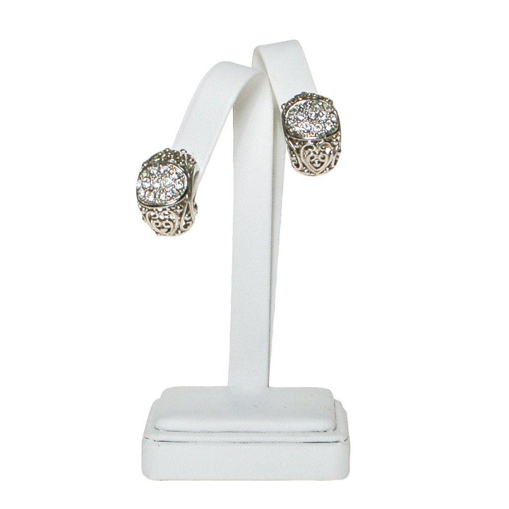 Rhinestone Filigree Hoop Earrings - Vintage Meet Modern  - 1