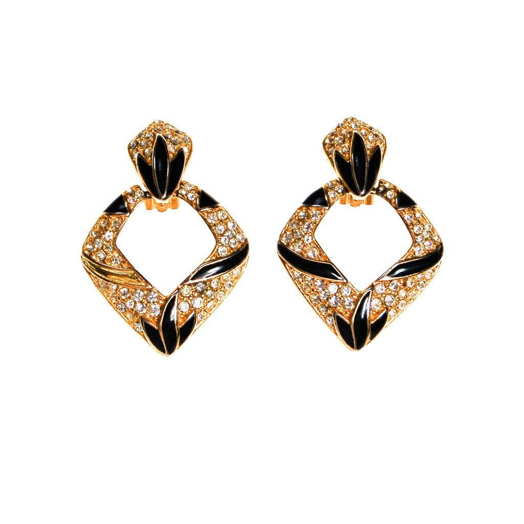 Bijoux Designs Door Knocker Earring in Gold Tone with Black Enamel and  Rhinestones - Vintage Meet Modern  - 2